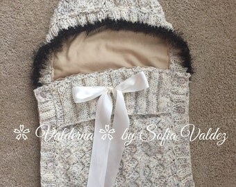Baby Cocoon Oatmeal/Furry-Newborn-Crochet-Knitted