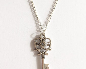 This is the Key to My Heart Silver Key Pendant Necklace