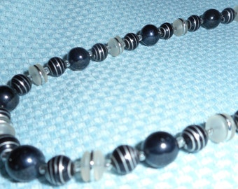 Vintage West Germany Choker Necklace & FREE Earrings Set Black White