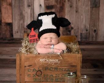 Knit Newborn Simmental Calf hat