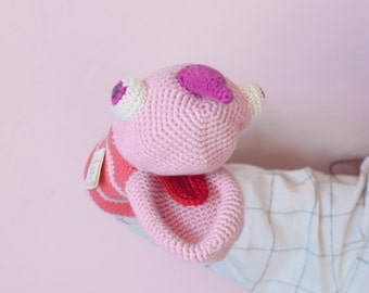 Pink monster crochet hand puppet