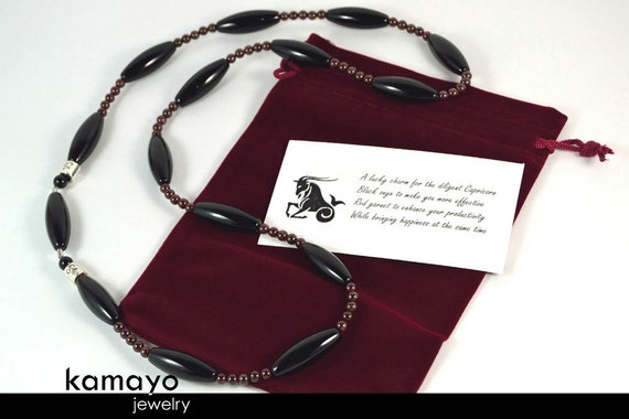 CAPRICORN OPERA NECKLACE - Large Rice Black Onyx Beads and Red Garnet - 30 Inches
