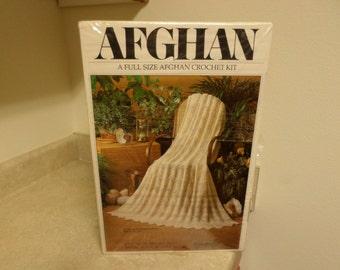 Full Size Afghan Crochet Kit Fisherman Ripple NEW 1970's Wonder Art
