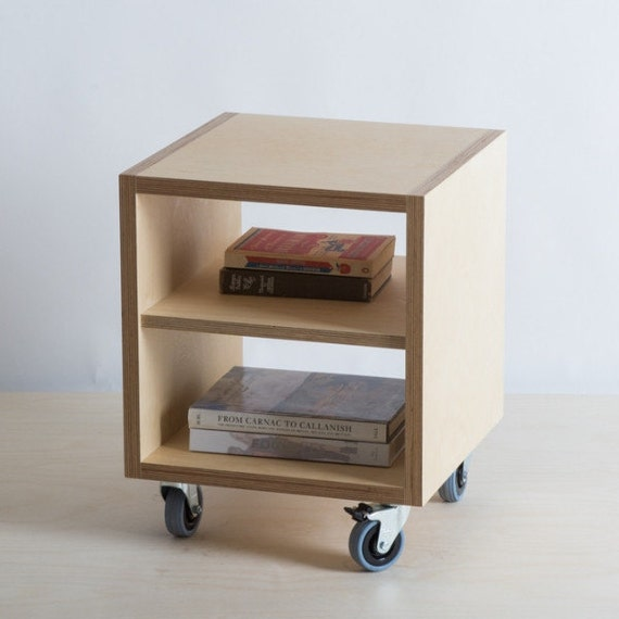 storage side table with shelf on wheels by bee9designshop. Black Bedroom Furniture Sets. Home Design Ideas