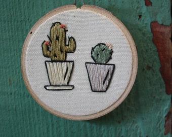 Miniature cactus embroidery