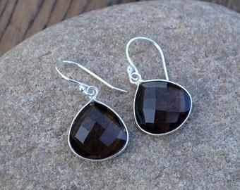 Heart Smoky Quartz Dangle Earrings, Smoky Quartz Bezel Gemstone, Smoky Gemstone, Briolette Earrings,Brides Wedding,Sterling Silver Earrings