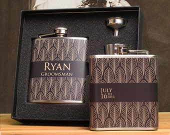 2 - Groomsman Gift, Art Deco Wedding, Flask Gift Set