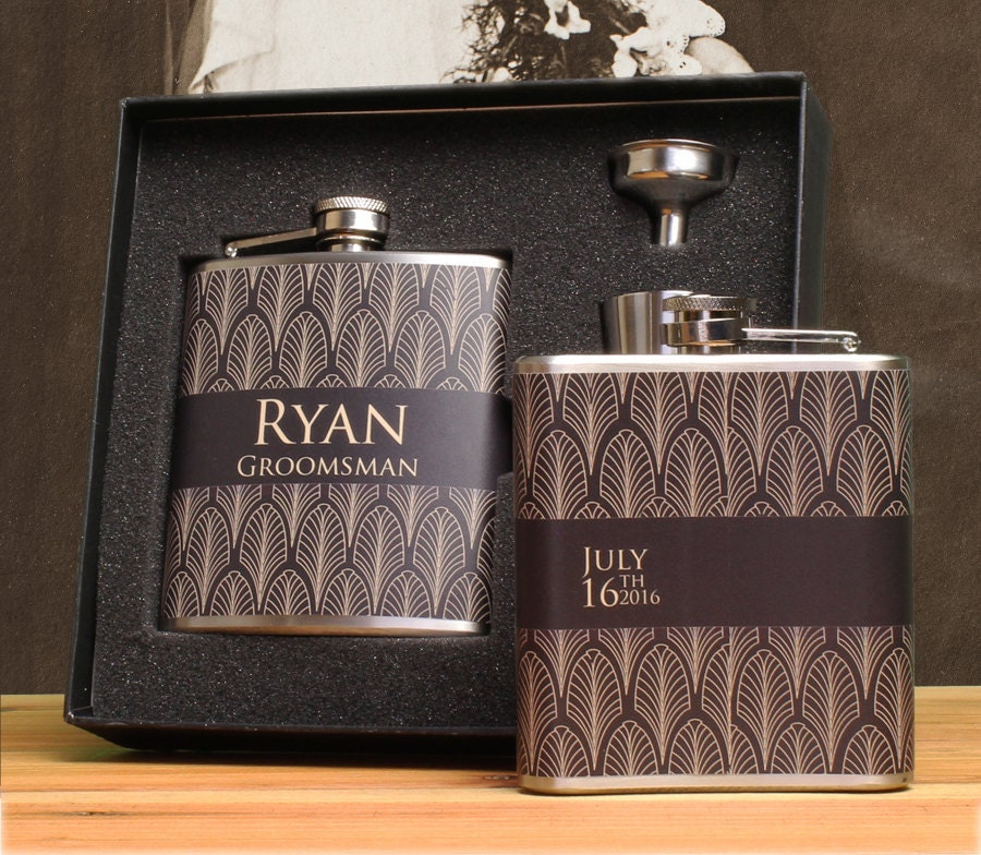 Art Deco Wedding Gift : Groomsman Gift Art Deco Wedding Flask Gift Sets