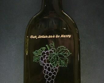 Slumped and engraved wine bottle trivet