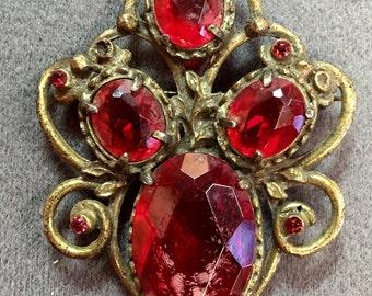 Big Older Red Rhinestone Brooch- as is.  Free shipping