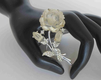 MARBOUX Boucher Rose & Pave Crystal Brooch