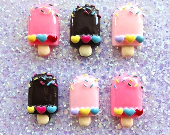 5 pcs - Kawaii Ice Cream Bar with Hearts and Sprinkles Resin Flatback Cabochons - 31mm - 3 Colors - Dessert - Fake Food - DIY - Decoden