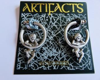 JJ Jonette Silver Pewter Angel Pierced Earrings