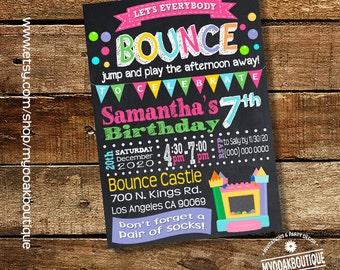 Bounce house party birthday invitation trampoline jump invite chalkbaord pink girl birthday trampoline digital printable invitation 14050