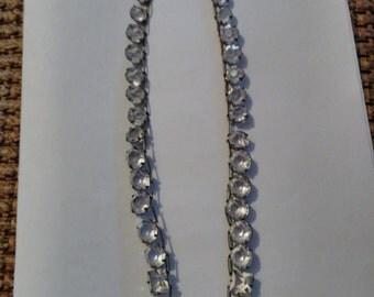 """Sparkling Antique Art Deco Sterling Crystal 16"""" Necklace"""