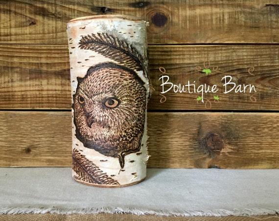 Barn Owl/Owls/Owl Decor/Birch Tree Decor/Fireplace By