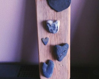 Driftwood with Heart Pebbles