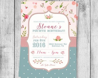 Tea Party Birthday Invitation - 5x7