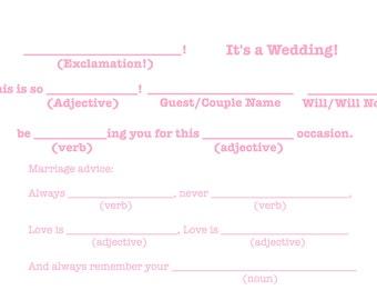 "Mad-Lib R.S.V.P ""It's a wedding!"" Template - Light Pink"
