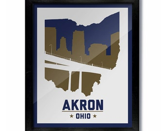 Akron, Ohio Skyline Poster Print: Wall Art Choose a Size - White-Blue/Gold