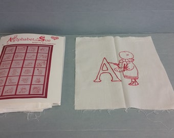 "Red Work Pattern, Sunbonnet Sue, Alphabet Quilt, Supplies Only - ""Work In Progress"" Project"