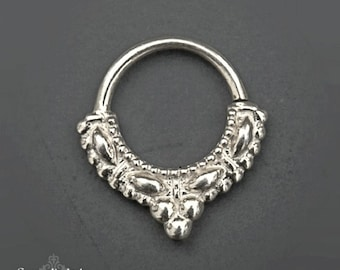 Tribal Septum, Silver Septum Ring, 16g Septum, 18g Septum, Sterling Silver Nose Ring For Pierced Nose, Indian Nose Jewelry