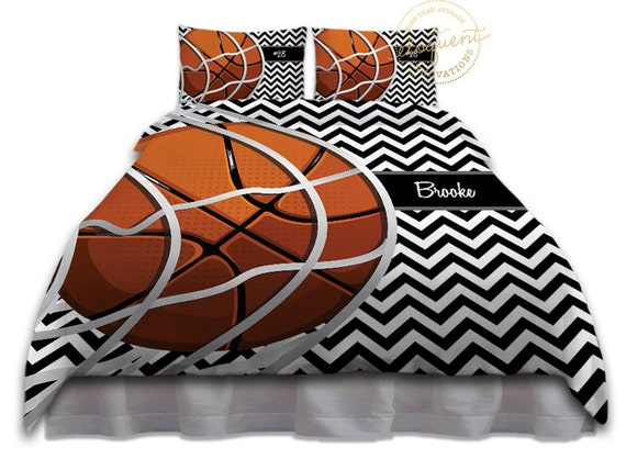 Basketball Themed Bedding Duvet Cover Black Amp White Chevron