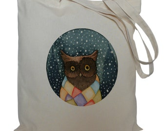 Tote bag/ drawstring bag/ owl in scarf/ cotton bag/ material shopping bag/ shoe bag/ bird/ market bag