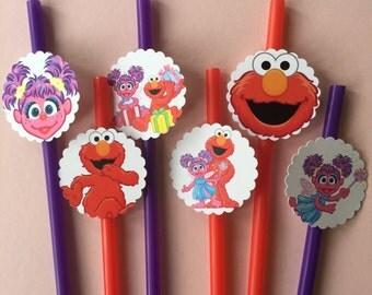 Elmo and Abby Cadabby  Birthday Party Straws