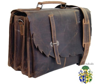 Briefcase MANITOU with Laptop compartment - brown Wild-West Leather - BARON of MALTZAHN