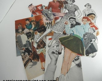 Vintage 1950s Magazine Clippings of Women 19pcs for Altered Art, Collage, Scrapbooking, Decoupage, Smash Books, Junk Journals Kitsch Ladies