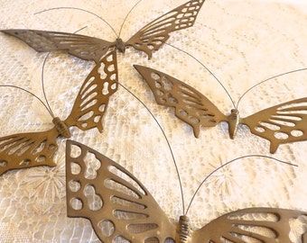 Butterfly Lover / Gardener / Set of 4 Vintage Brass Butterflies / Indoor or Outdoor Decor /