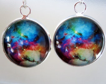 Nebula/Galaxy Cabochon Dangle Earrings