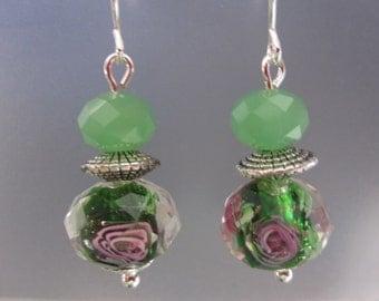 Green Lampwork Floral Bead Earrings