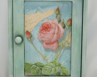 Key cabinet decoupaged wooden key holder with roses,key cupboard,wooden key box,key holder box,wooden cabinet,key holder wooden