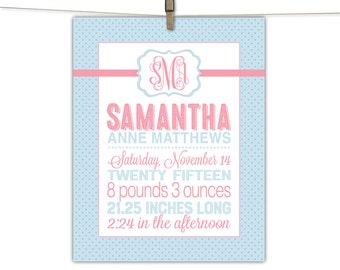 baby announcement sign, birth stats print, blue and pink nursery, personalized nursery decor baby girls, birth date print