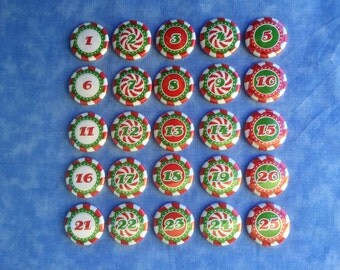 "Red White Green Christmas Number Buttons, Peppermint Candy Number Buttons, Advent Calander Buttons, 1"" Flatback Buttons, 25 Buttons Total"