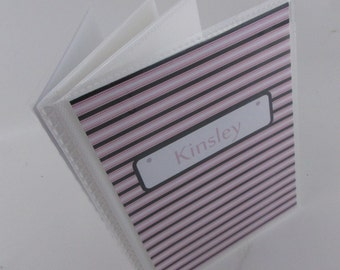 Brag Book Personalized photo album girl photo album Grandmas brag book baby shower gift Photo Book pink black stripe 4x6 or 5x7 186