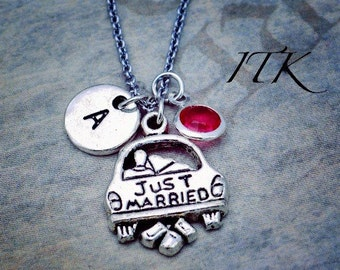 Just Married charm dangle pendant necklace