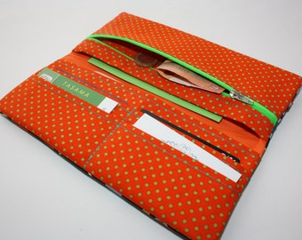 Orange organizer Wallet Bag Handmade Wallet women portmonnee Womens Wallet  Blue leaves