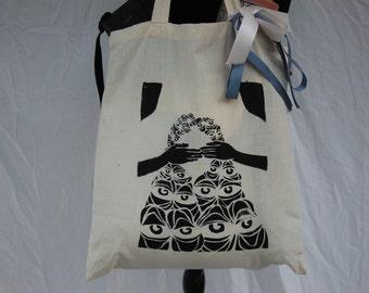 "Reusable Canvas Tote Bag With Original ""Entropy"" Screen Print Design Artwork in Black Ink"