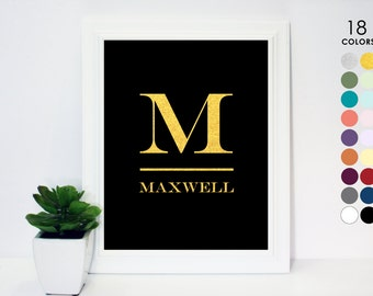 Monogram Initial Art Print, 5x7, 8x10, 11x14, Custom Colors, Gold, Black, Navy Blue, White, Silver, Pink, Purple, Nursery, Family Name Art