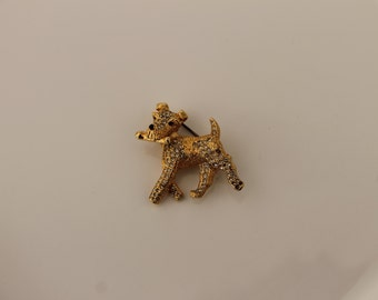 Cute terrier golden dog brooch with crystals Found in Paris