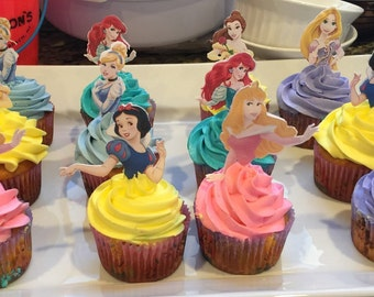 24 Princess Cupcake Toppers