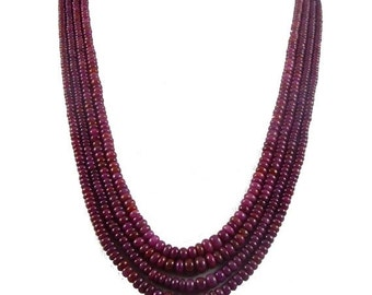 """on sale 25% shop sale Natural African Ruby AA Quality Precious Gemstones, Rich Lustrous Color Medium Smooth Rondelles 3-6 mm 4 strand 19"""" 1"""