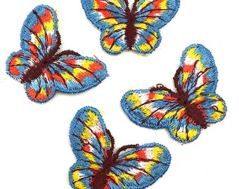 "Set of 4 Embroidered Butterfly Patches, 2"" x 1.5"" each -6376-1250"