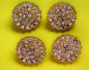 Gold tone Metal Rhinestone Encrusted Buttons - 4783