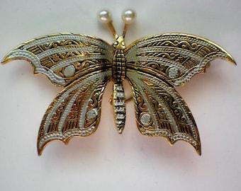 Damascene Butterfly Pin from Spain - 4534
