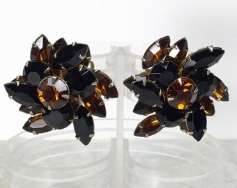 1950s Judy Lee Earrings // Mid Century Brown & Black Glass Stones, Prong Set on Gold Metal // Large Size, Clip On Style