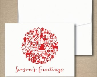 Christmas Cards, Holiday Card Set, Personalized Holiday Cards - Holiday Ornament Graphic Icon